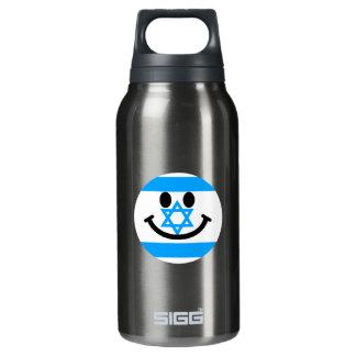 Israeli flag smiley face insulated water bottle