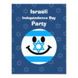 Israeli flag smiley face 4.25x5.5 paper invitation card