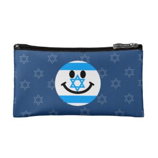 Israeli flag smiley face makeup bag