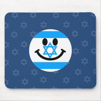 Israeli flag smiley face mouse pad