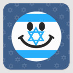 Israeli flag smiley face square sticker