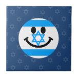 Israeli flag smiley face tile