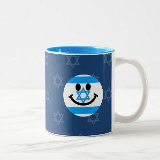 Israeli flag smiley face Two-Tone coffee mug