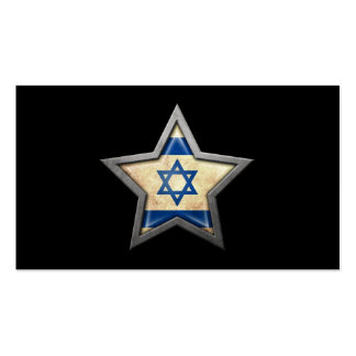 Israeli Flag Star on Black Business Card