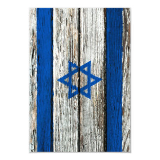 "Israeli Flag with Rough Wood Grain Effect 3.5"" X 5"" Invitation Card"