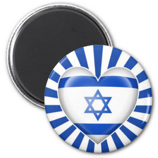Israeli Heart Flag with Star Burst Magnet