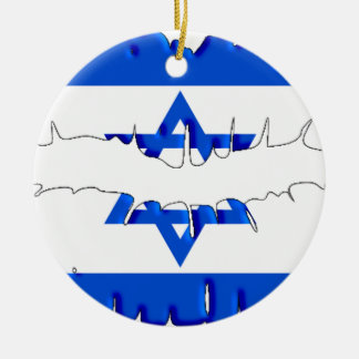 Israeli Kiss Double-Sided Ceramic Round Christmas Ornament