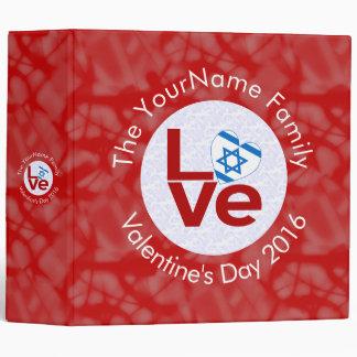 Israeli LOVE White on Red Binder