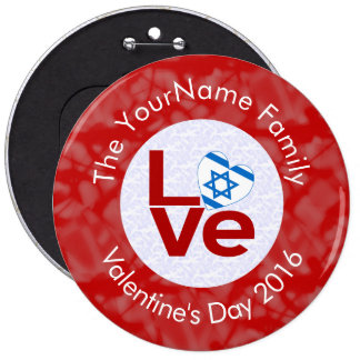 Israeli LOVE White on Red Pinback Button
