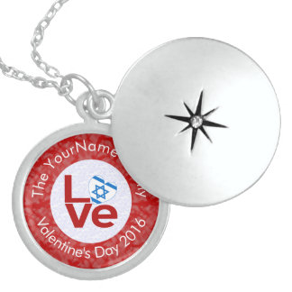 Israeli LOVE White on Red Sterling Silver Necklace
