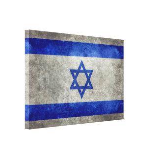 Israeli national flag on stone texture canvas print