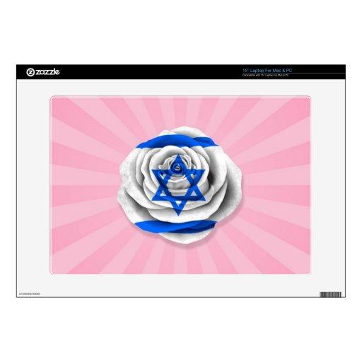 """Israeli Rose Flag on Pink Skin For 15"""" Laptop"""