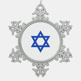 Israeli Star of David Snowflake Pewter Christmas Ornament