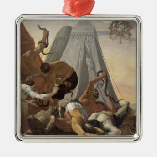 Israelites Afflicted with the Brazen Serpent Square Metal Christmas Ornament