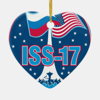 ISS Crews:  Expedition 17 Double-Sided Heart Ceramic Christmas Ornament