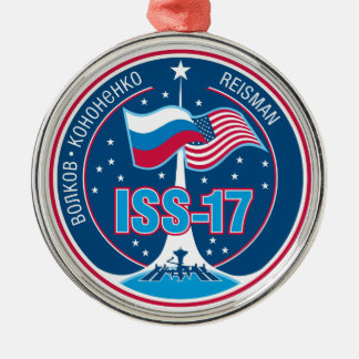 ISS Crews:  Expedition 17 Round Metal Christmas Ornament