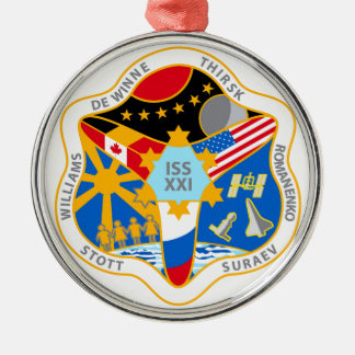 ISS Crews:  Expedition 21 Round Metal Christmas Ornament