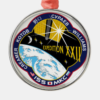 ISS Crews:  Expedition 22 Round Metal Christmas Ornament