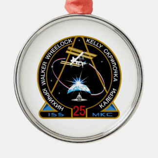 ISS Crews:  Expedition 25 Round Metal Christmas Ornament
