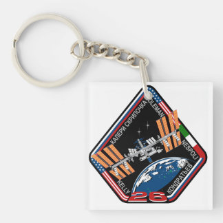 ISS Crews:  Expedition 26 Double-Sided Square Acrylic Keychain