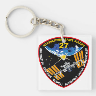 ISS Crews:  Expedition 27 Double-Sided Square Acrylic Keychain