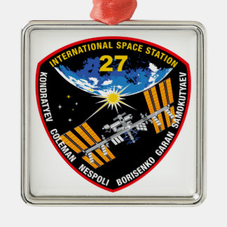 ISS Crews:  Expedition 27 Square Metal Christmas Ornament