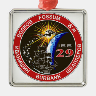 ISS Crews:  Expedition 29 Square Metal Christmas Ornament