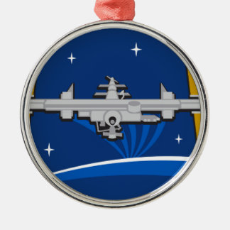 ISS Crews:  Expedition 42 Round Metal Christmas Ornament
