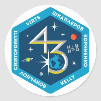 ISS Crews:  Expedition 43 Classic Round Sticker