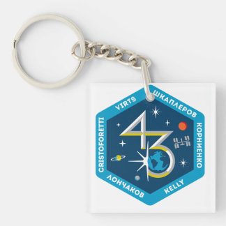 ISS Crews:  Expedition 43 Double-Sided Square Acrylic Keychain