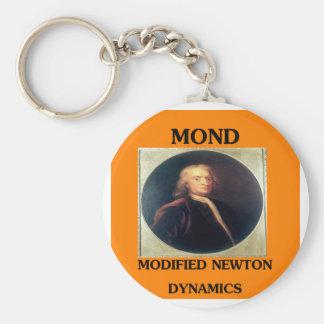 issac newton: modified newtonian dynamics basic round button keychain