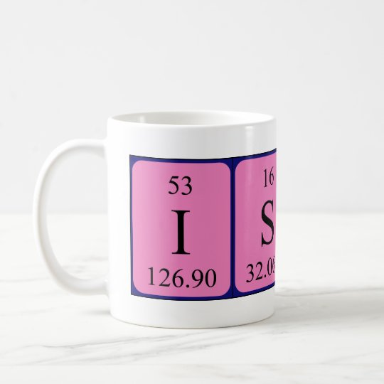 Issac periodic table name mug
