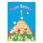 Ist Birthday cute Bees and Flowers Greeting Card