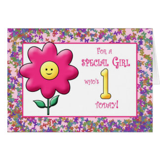 Ist Birthday cute Pink Flower and Smiley Card