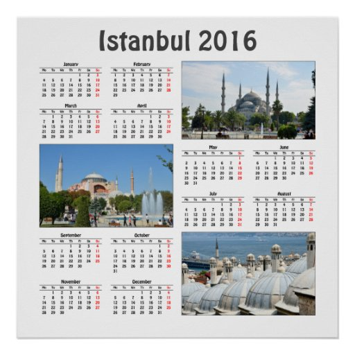 Calendar Poster 2016 : Istanbul calendar poster zazzle