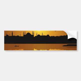 Istanbul and sunset car bumper sticker