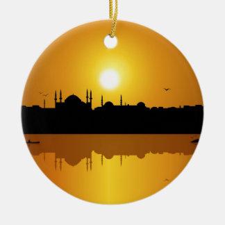 Istanbul And Sunset.jpg Ceramic Ornament