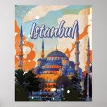Istanbul Aya Sophia Mosque vintage travel poster