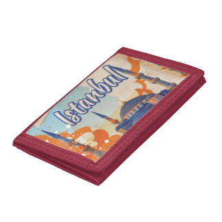 Istanbul Aya Sophia Mosque vintage travel poster Tri-fold Wallets