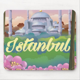 Istanbul blue mosque travel poster mouse pad