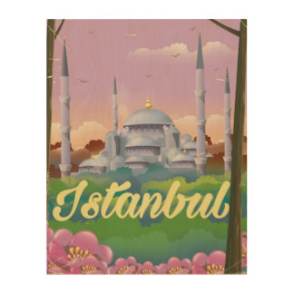 Istanbul blue mosque travel poster wood wall art