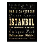 Istanbul City of Turkey Typography Art Post Card