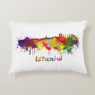 Istanbul skyline in watercolor accent pillow