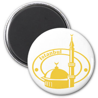 Istanbul Stamp 2 Inch Round Magnet