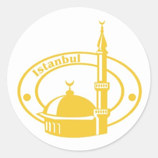Istanbul Stamp Round Stickers