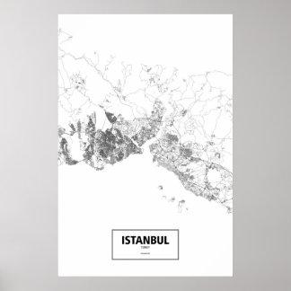 Istanbul, Turkey (black on white) Poster