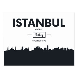 Istanbul, Turkey | City Coordinates Postcard