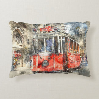 Istanbul Turkey Red Trolley Accent Pillow