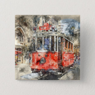 Istanbul Turkey Red Trolley Button