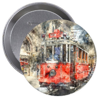 Istanbul Turkey Red Trolley Button